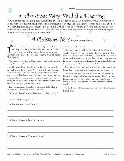 Free Christmas Reading Comprehension Worksheets Printable A Christmas Fairy Reading Prehension Worksheet