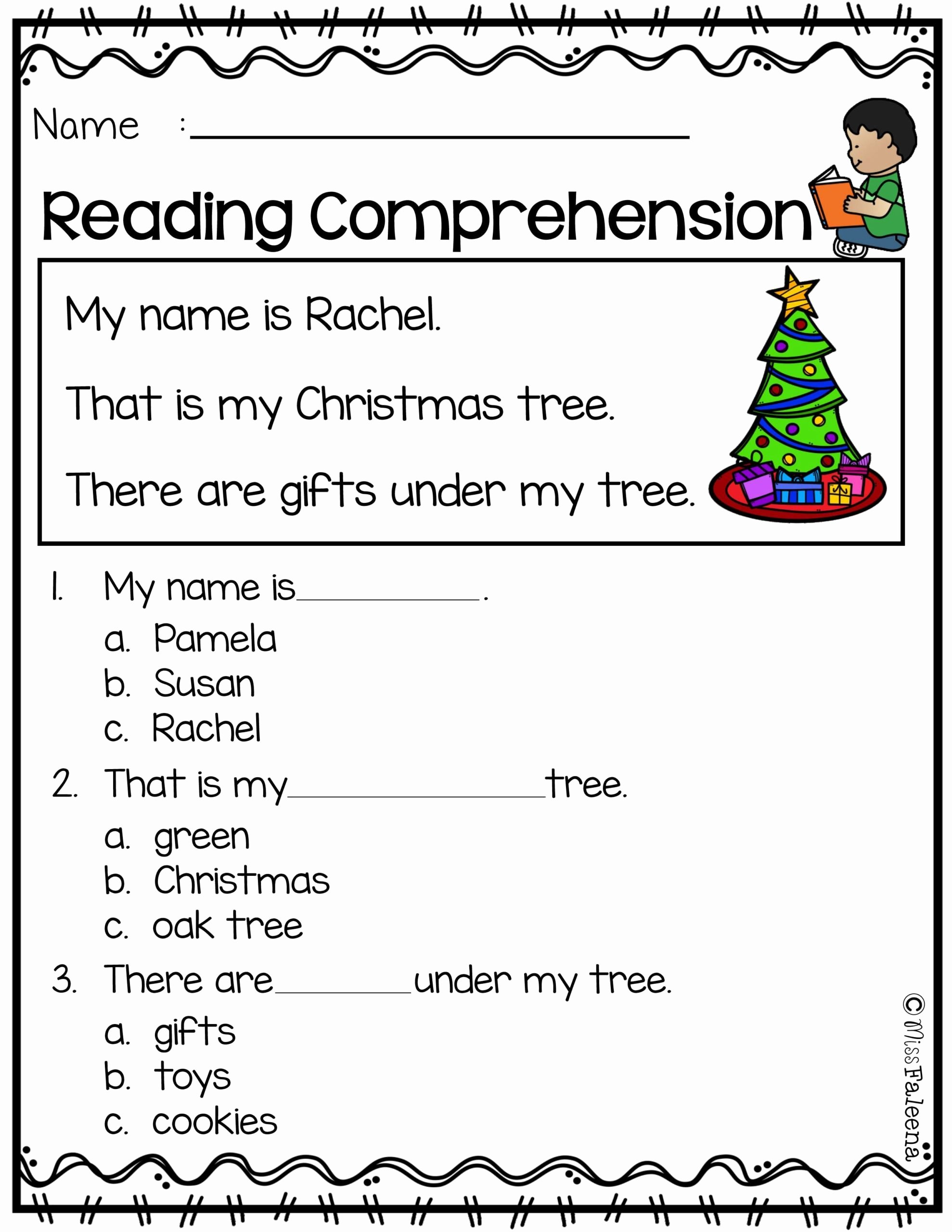 Free Christmas Reading Comprehension Worksheets top Math Worksheet Third Grade Readingsion Worksheets 3rd