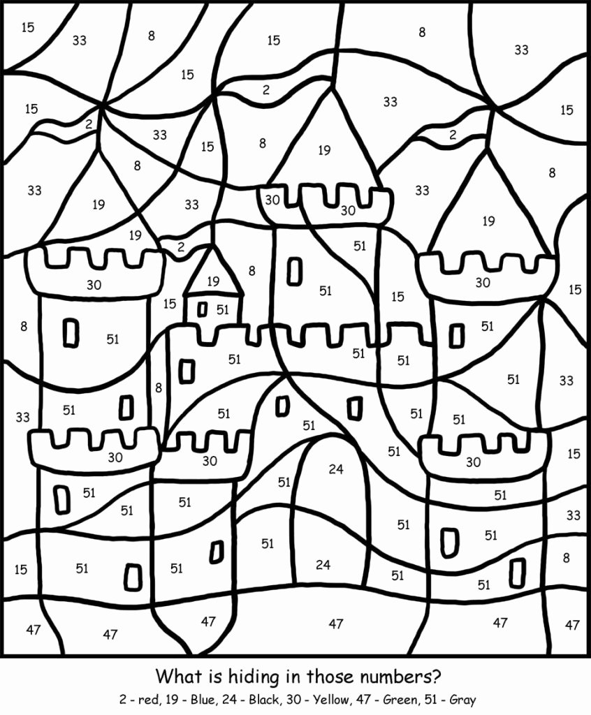 Free Color by Numbers Worksheets Best Of Printable Coloring Color by Number Pagesee Best Castle Big
