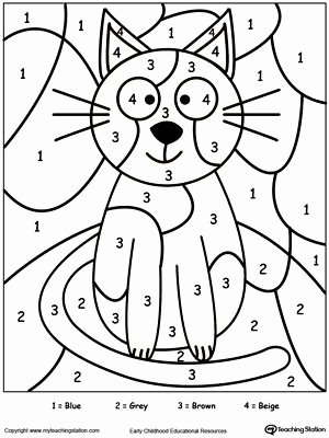 Free Color by Numbers Worksheets Inspirational Color by Number Cat