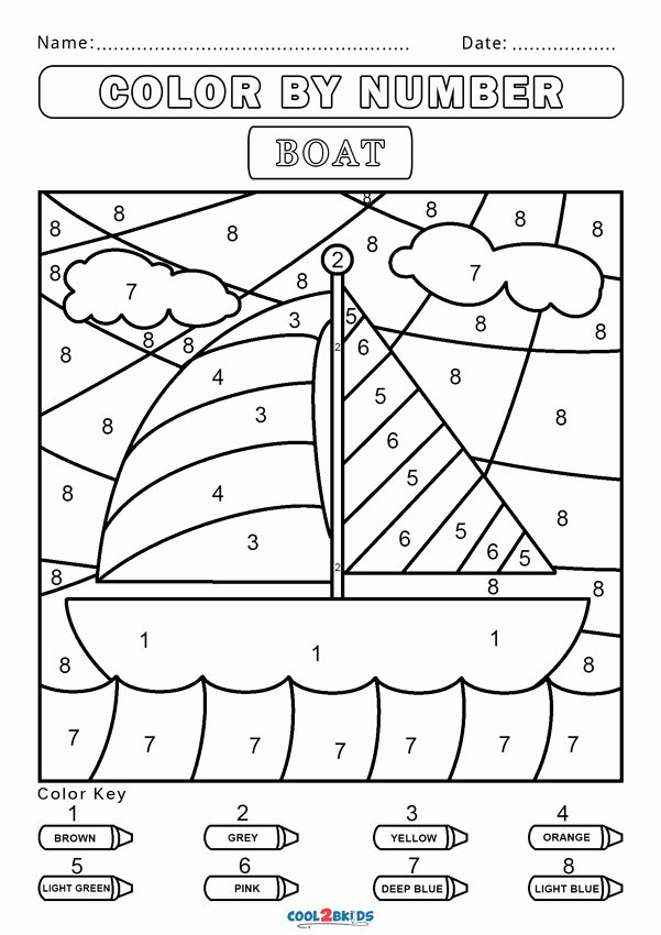 Free Color by Numbers Worksheets New Free Color by Number Worksheets Cool2bkids Boat Grade Math
