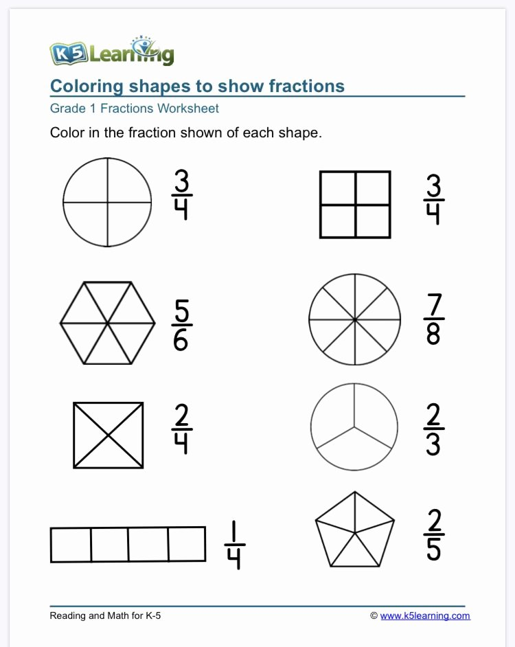 Free First Grade Fraction Worksheets Lovely 1st Grade Fractions Math Worksheets