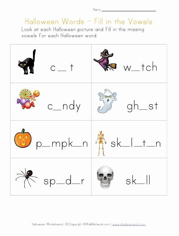 Free Kindergarten Halloween Worksheets Printable Ideas Halloween Worksheet Fill In the Missing Vowels