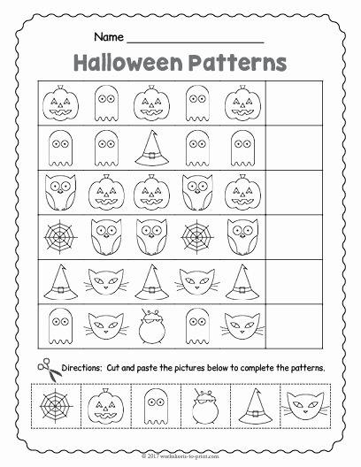 Free Kindergarten Halloween Worksheets Printable Kids Free Printable Halloween Pattern Worksheet