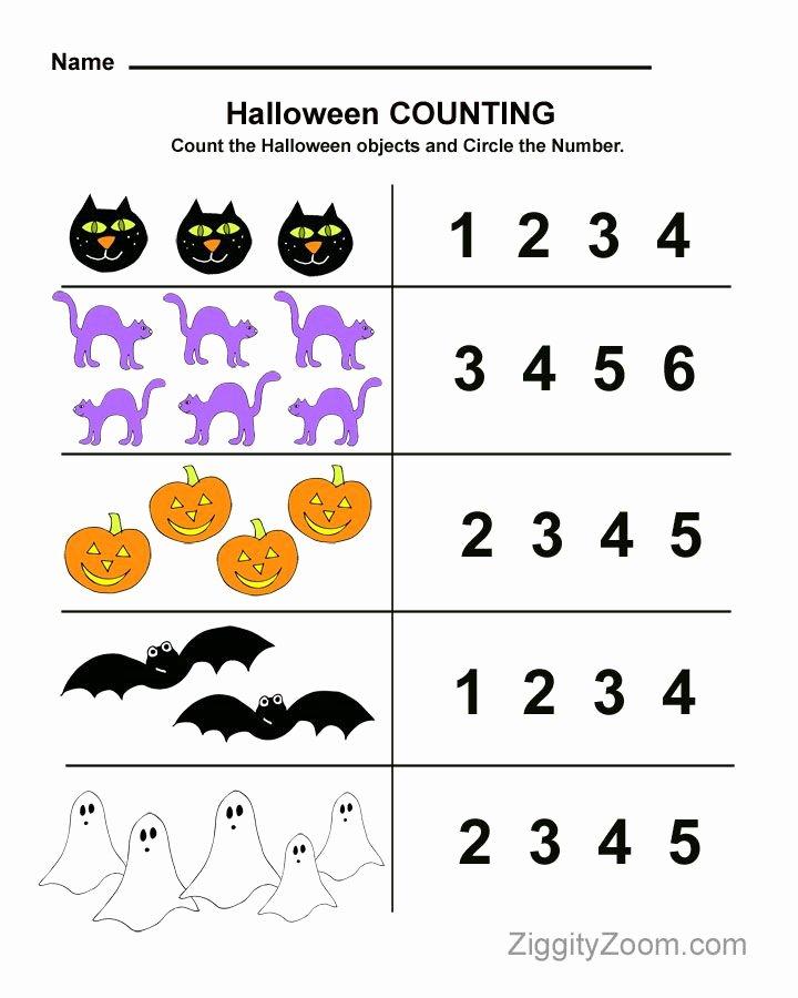 Free Kindergarten Halloween Worksheets Printable New Halloween Preschool Worksheet for Counting Practice Math
