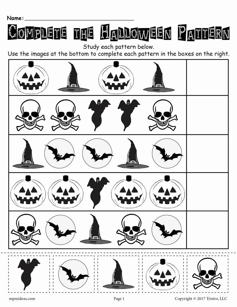 Free Kindergarten Halloween Worksheets Printable top Printable Halloween Pattern Worksheet