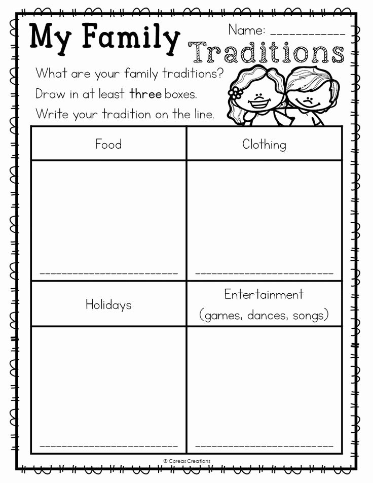 Free Kindergarten social Studies Worksheets top Family Traditions