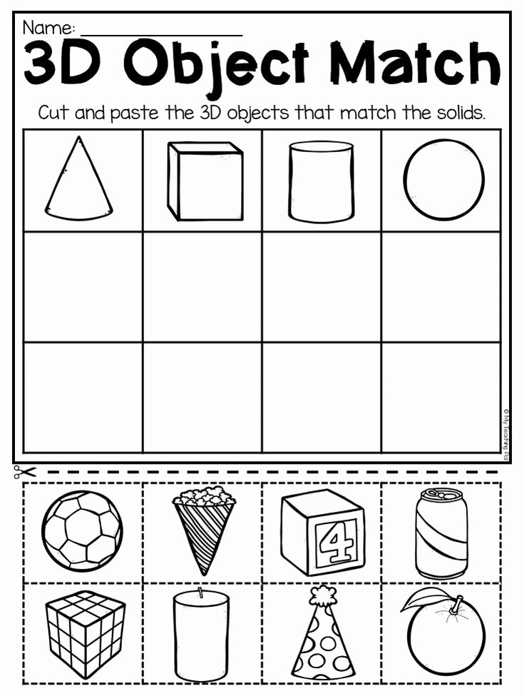 Free Printable 3d Shapes Worksheets Free Matching 3d Objects Worksheet for Kindergarten This Packet