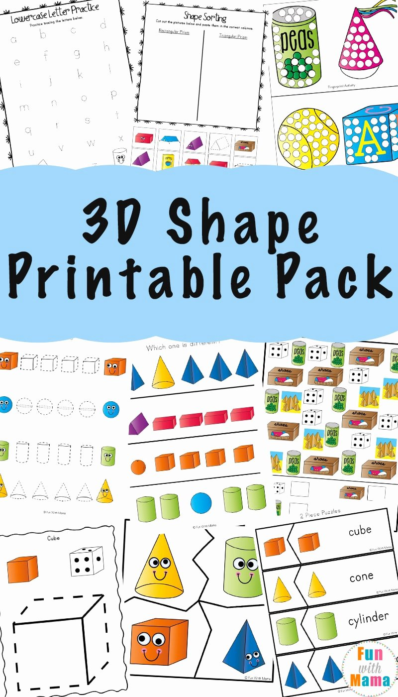 Free Printable 3d Shapes Worksheets Ideas 3d Shape Worksheets Fun with Mama