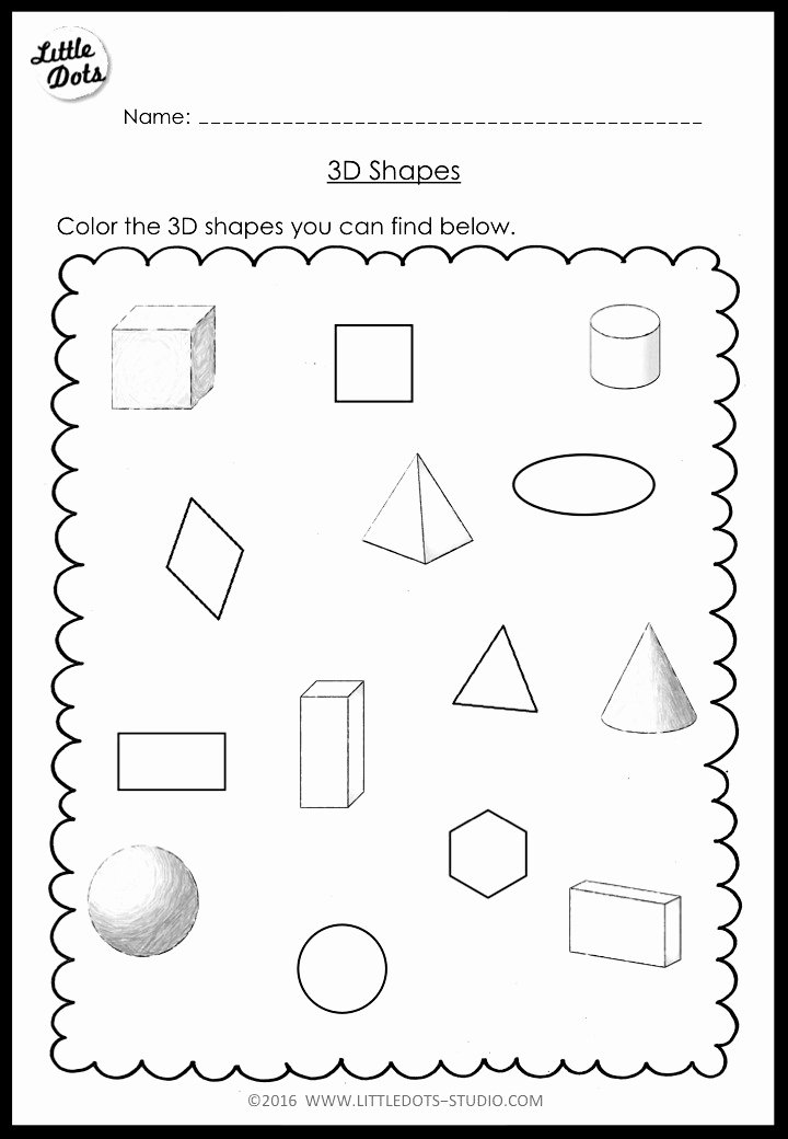 Free Printable 3d Shapes Worksheets Kids Kindergarten Math 3d Shapes Worksheets and Activities