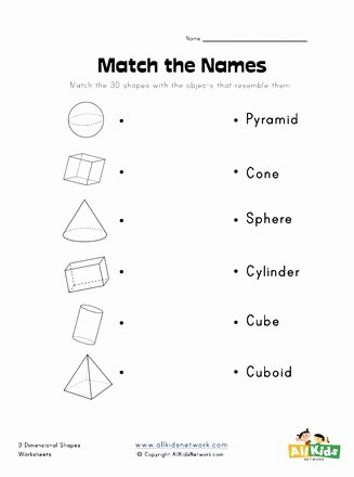 Free Printable 3d Shapes Worksheets top 3d Shape to Name Matching Worksheet