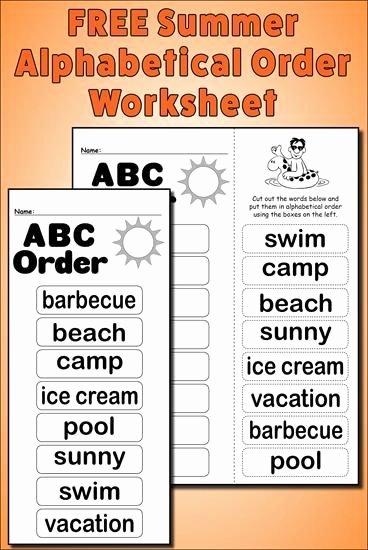 Free Printable Alphabetical order Worksheets Kids Summer Alphabetical order Worksheet