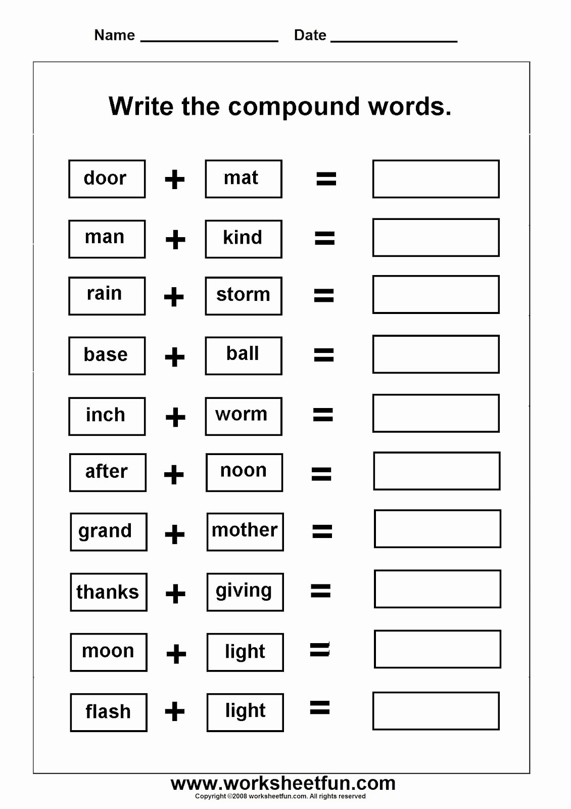 Free Printable Compound Word Worksheets Ideas Pound Words Worksheets Grade 3