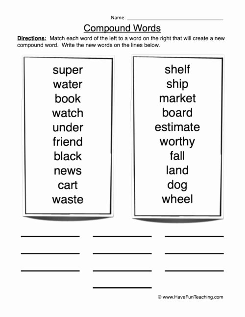 Free Printable Compound Word Worksheets Lovely Pound Words Worksheets • Have Fun Teaching