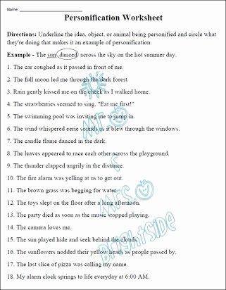 Free Printable Figurative Language Worksheets Free Free Printable Worksheets On Personification