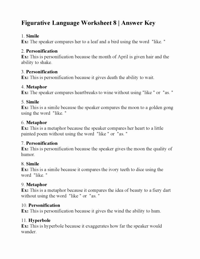Free Printable Figurative Language Worksheets Kids Figurative Language Worksheet Answers Printable Worksheets