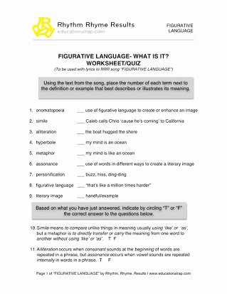 Free Printable Figurative Language Worksheets Lovely Free Printable Figurative Language Sheets