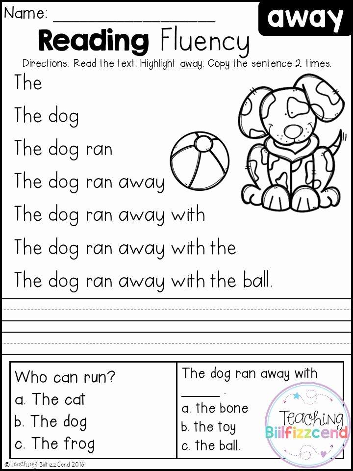 Free Printable Kindergarten Fluency Passages top Free Kindergarten Reading Fluency and Prehension Set 1