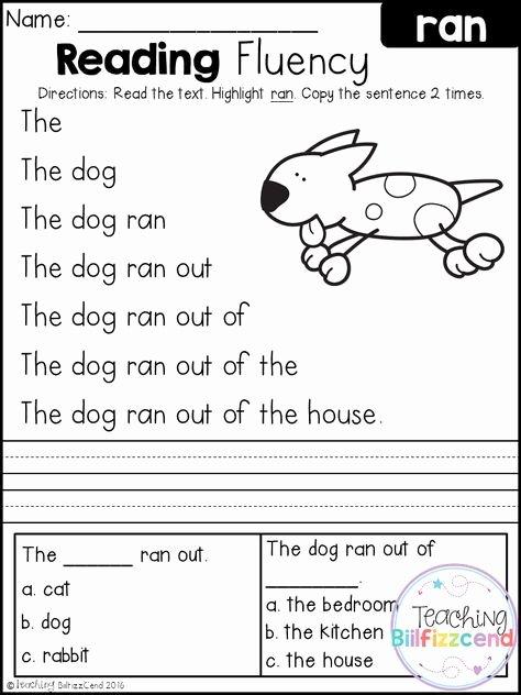 Free Printable Kindergarten Fluency Passages top Free Reading Fluency and Prehension Set Kindergarten