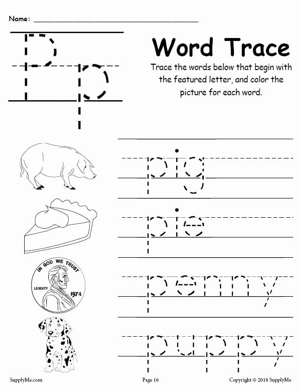 Free Printable Letter P Worksheets Free Letter P Words Alphabet Tracing Worksheet