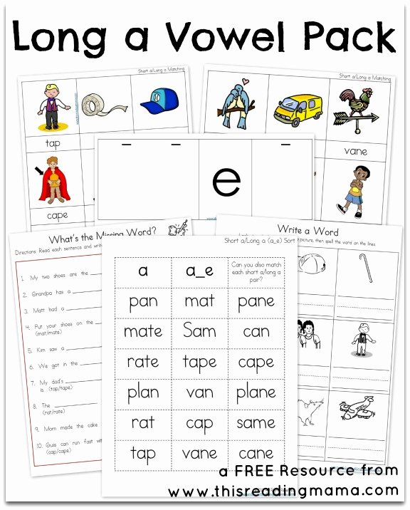 Free Printable Long Vowel Worksheets Kids Long A Vowel Pack Free Printable Pack
