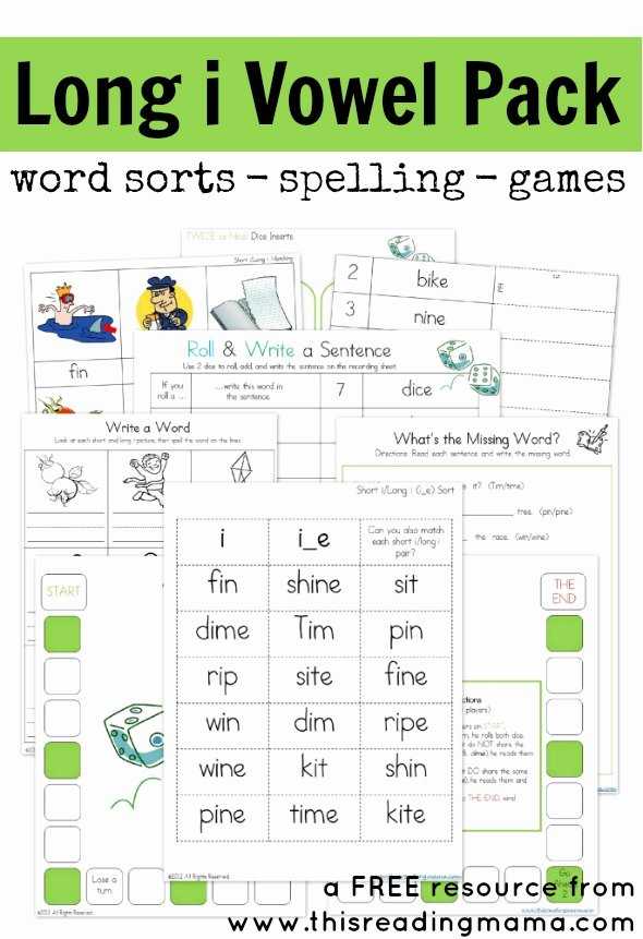 Free Printable Long Vowel Worksheets Printable Long I Vowel Pattern Free Printable Pack