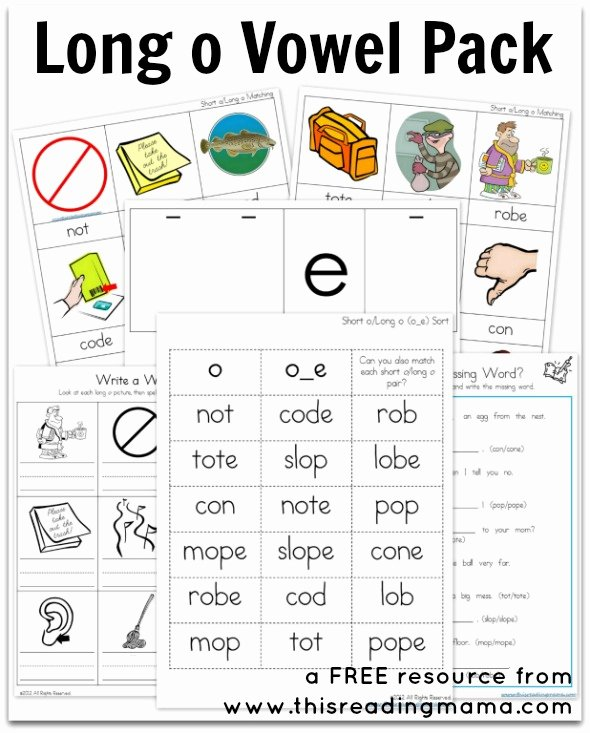 Free Printable Long Vowel Worksheets top Long O Vowel Pack Free Printable