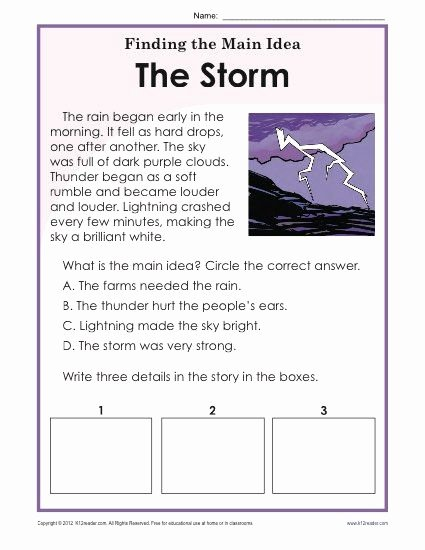 Free Printable Main Idea Worksheets Kids 1st or 2nd Grade Main Idea Worksheet About Storms