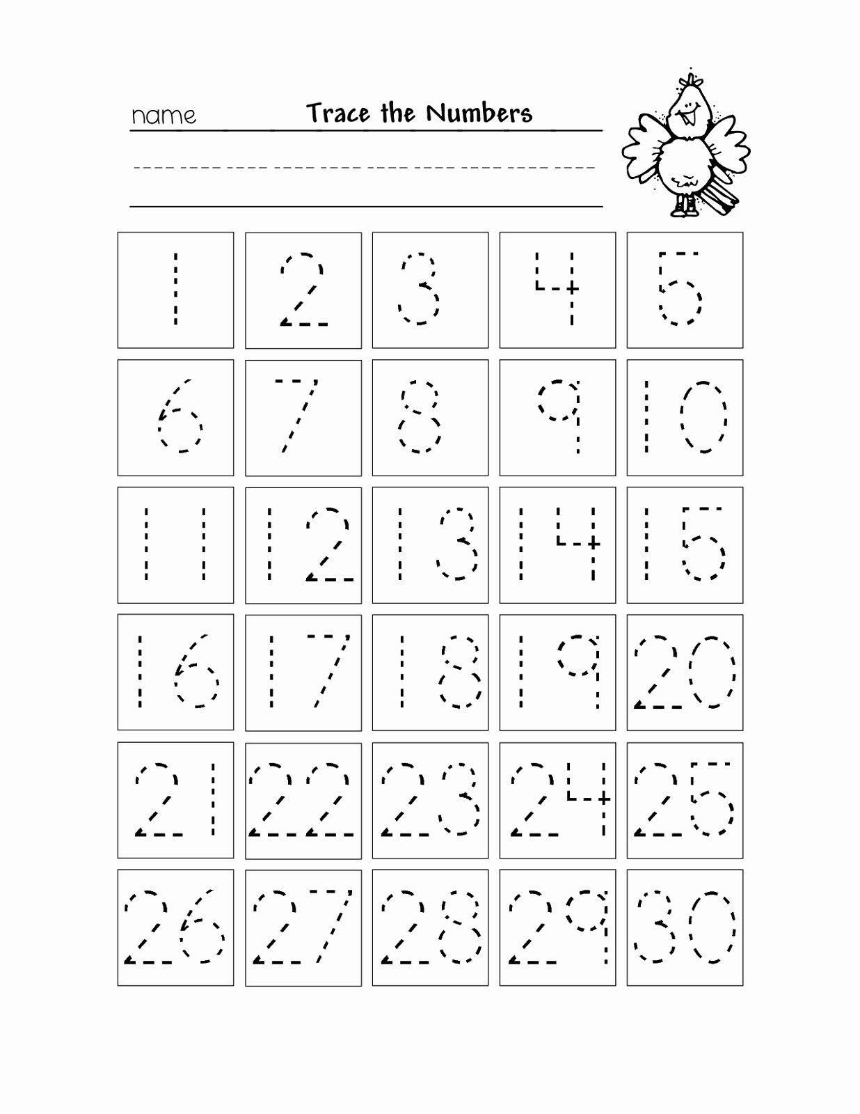 Free Printable Number Tracing Worksheets New Number Tracing 1 20 Worksheet Generator