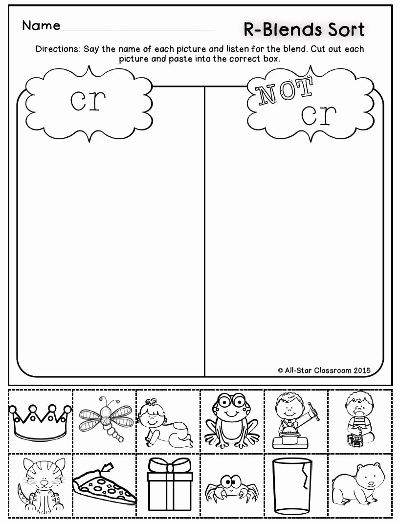 Free Printable R Blends Worksheets Ideas these R Blend Picture sort Printables are A Perfect Practice