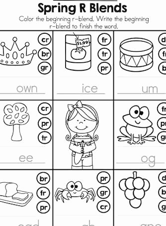 Free Printable R Blends Worksheets Inspirational Spring R Blends Dot or Color the R Matching R Blend and