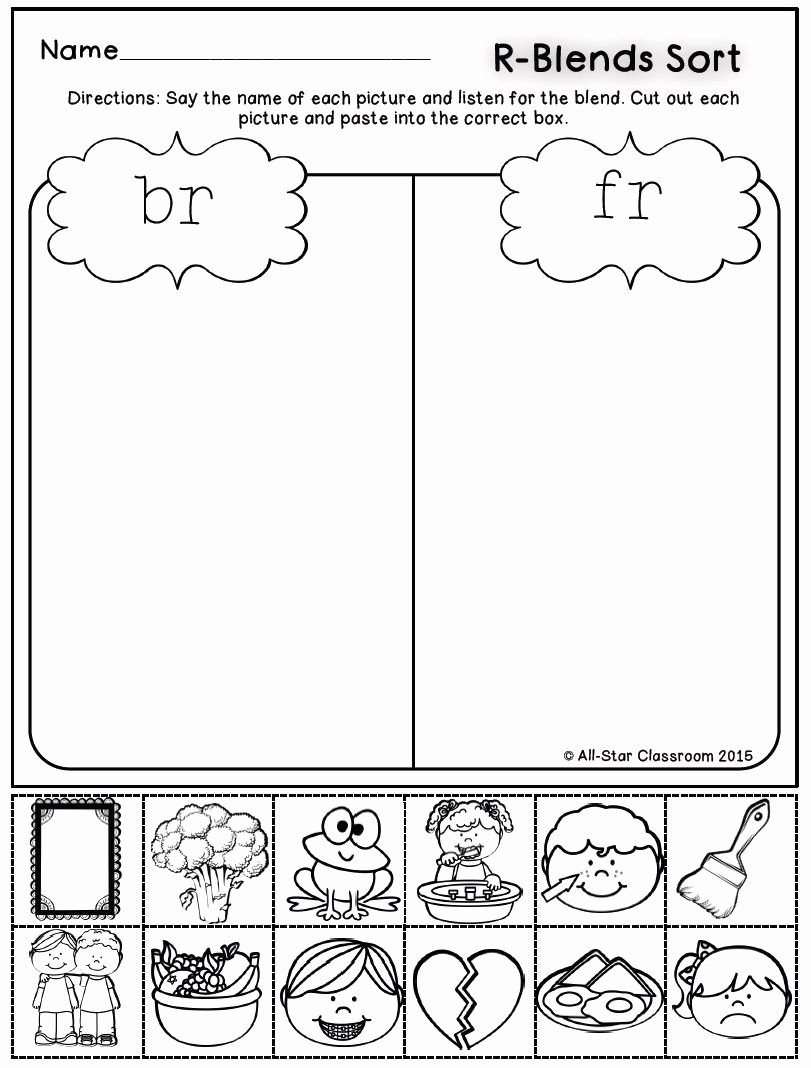 Free Printable R Blends Worksheets Lovely these R Blend Picture sort Printables are A Perfect Practice