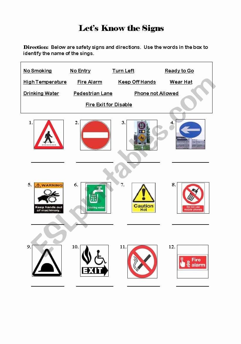 Free Printable Safety Signs Worksheets Free Safety Signs Esl Worksheet by Npberiones