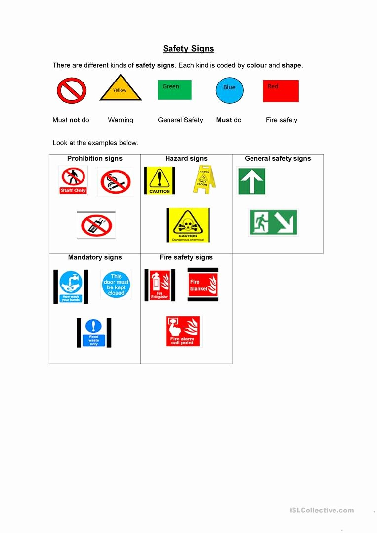 Free Printable Safety Signs Worksheets Printable Safety Signs English Esl Worksheets for Distance Learning