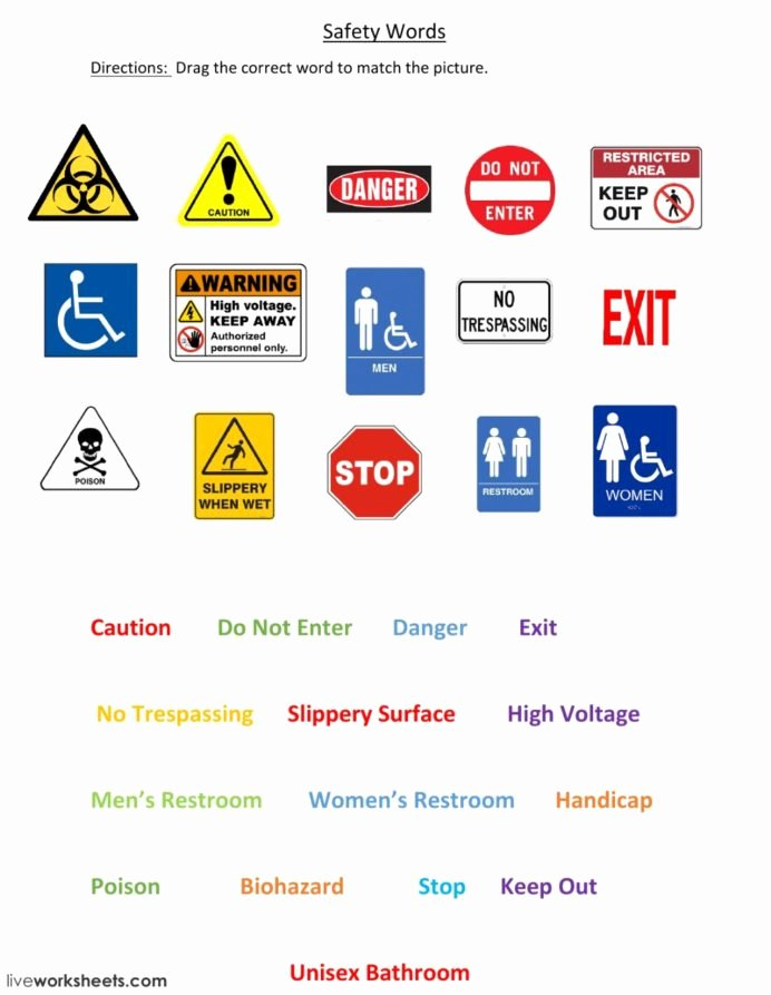 Free Printable Safety Signs Worksheets top Safety Signs Interactive Worksheet at Work Worksheets