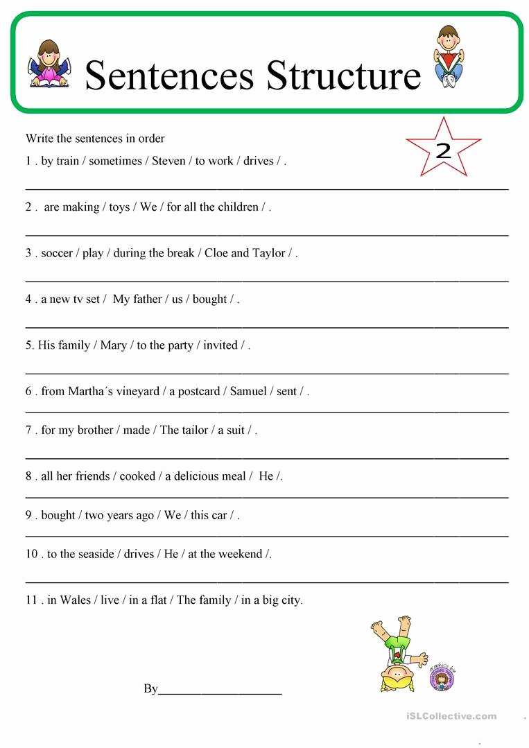 Free Printable Sentence Structure Worksheets Fresh Sentence Structure 2 English Esl Worksheets for Distance