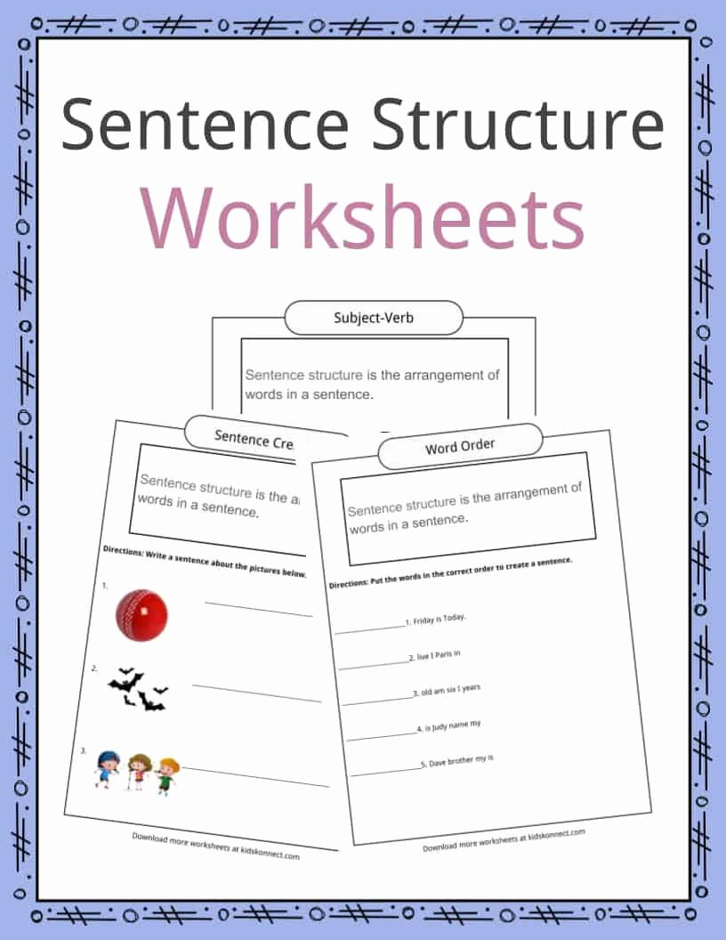 Free Printable Sentence Structure Worksheets Kids Sentence Structure Worksheets Examples & Definition for Kids