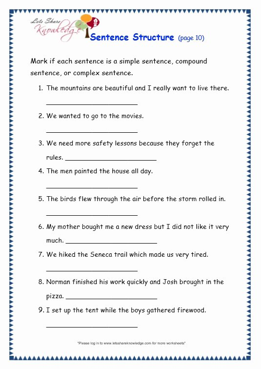 Free Printable Sentence Structure Worksheets Printable Worksheet Worksheet Grade Grammar topic Sentence Structure