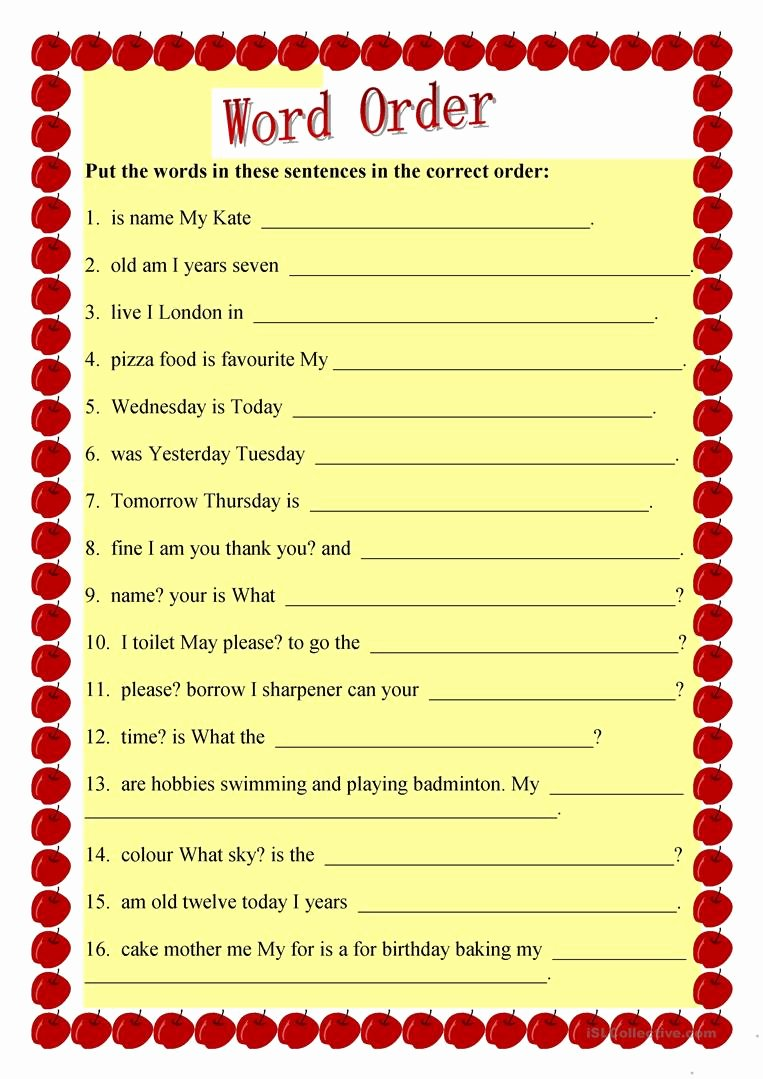 Free Printable Sentence Structure Worksheets top Sentence Structure English Esl Worksheets for Distance