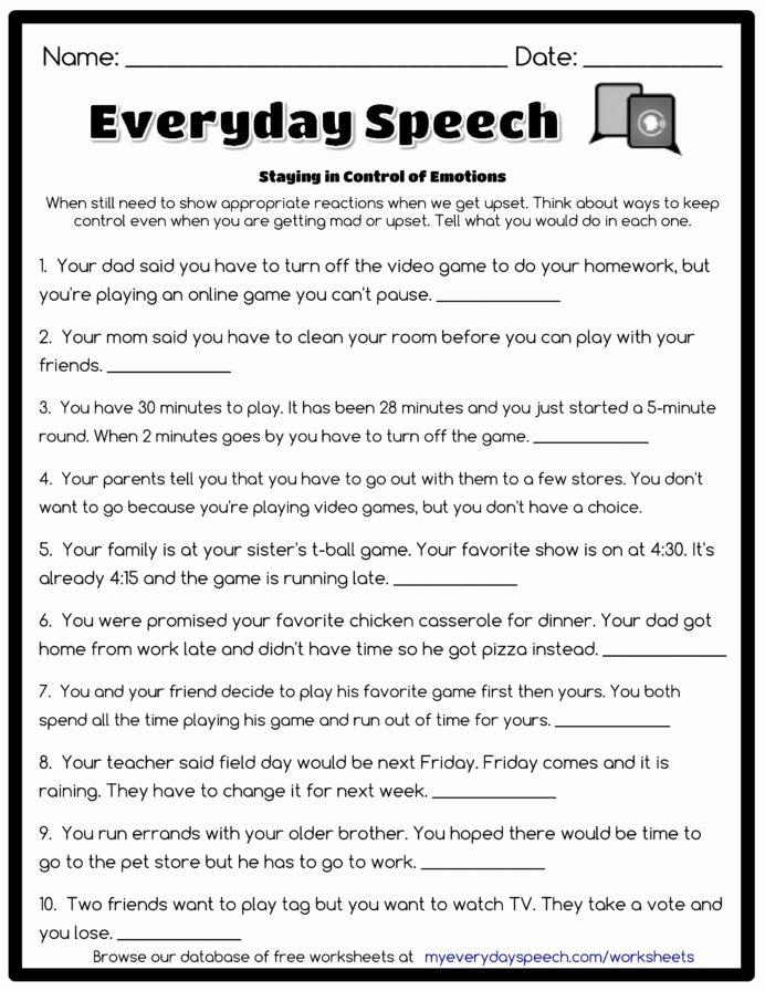 Free Printable social Stories Worksheets Kids Worksheet Creator Speech therapy Worksheets social Stories