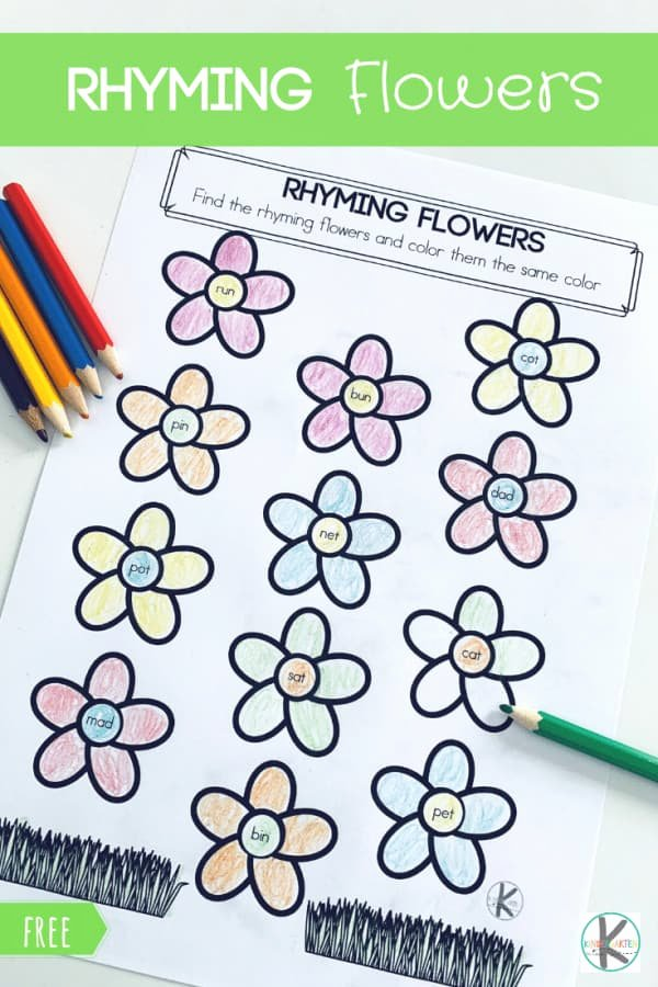 Free Rhyming Worksheets for Kindergarten Fresh Free Rhyming Flowers Worksheet