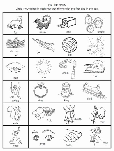 Free Rhyming Worksheets for Kindergarten Printable Free Rhymes Worksheets