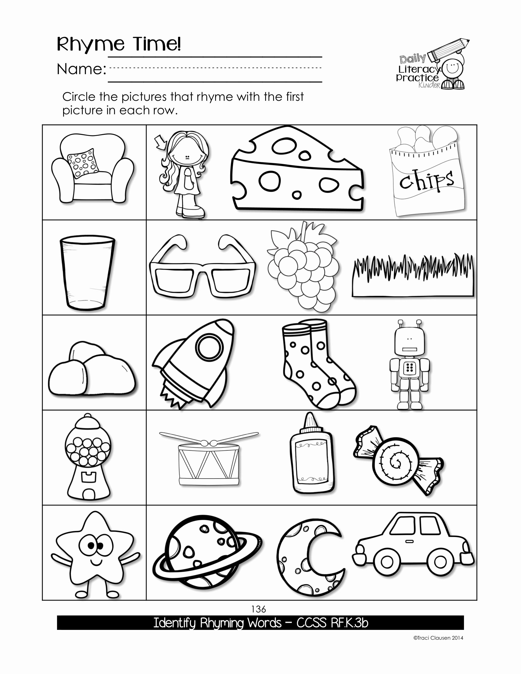 Free Rhyming Worksheets for Kindergarten Printable Worksheets Kindergarten Phonics Sight Words Practice Daily