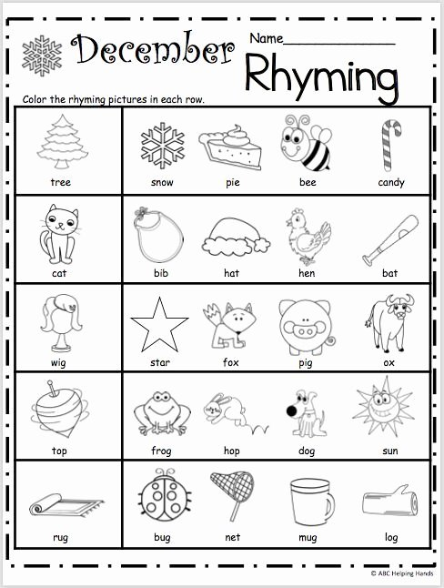 Free Rhyming Worksheets for Kindergarten top Free Kindergarten Rhyming Worksheets for December