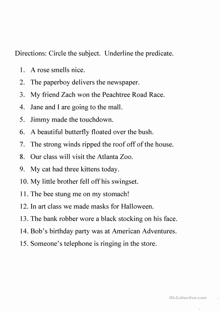 Free Subject and Predicate Worksheets Free Identifying Subject and Predicate Worksheet English Esl Hard