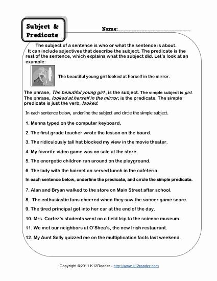 Free Subject and Predicate Worksheets Ideas Subject and Predicate Worksheets