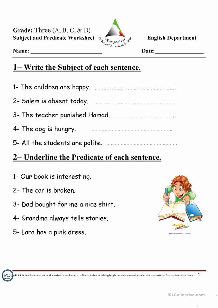 Free Subject and Predicate Worksheets Inspirational Subject and Predicate English Esl Worksheets for Distance