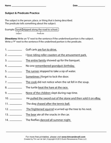 Free Subject and Predicate Worksheets Kids Subject and Predicate Worksheets First Grade Language Arts