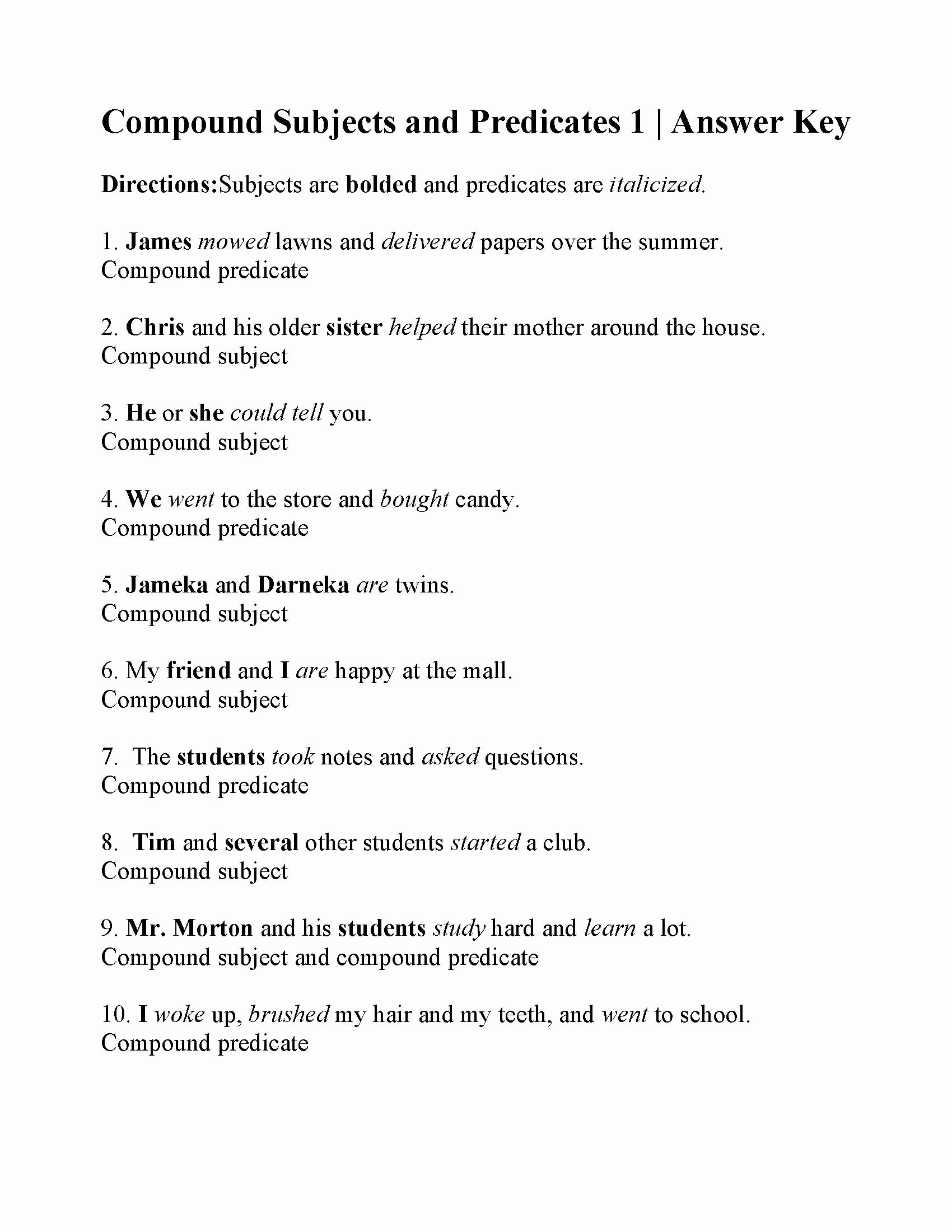 Free Subject and Predicate Worksheets top Pound Subjects and Predicates Worksheet