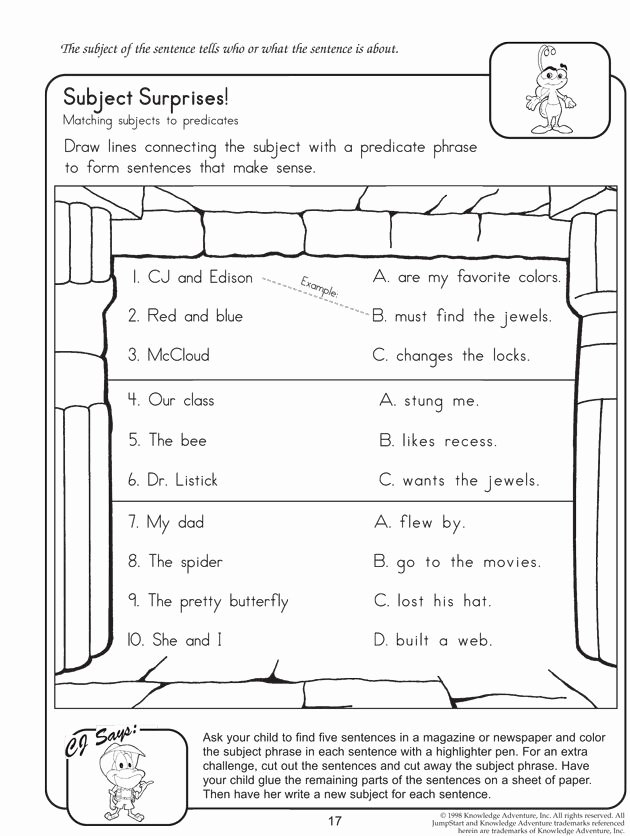 Free Subject and Predicate Worksheets top Subject Surprises English Worksheet On Subject and